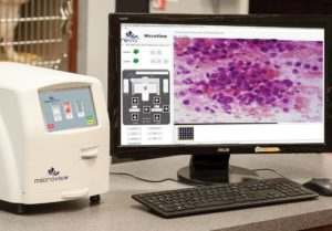 FIGURE 4. This Microview system automates the process of smearing, staining, and viewing blood smears and other types of samples and captures a digital image of the slide. Photo courtesy of Revo Squared.