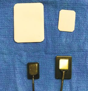 FIGURE 3. Different sensors: Top row film sizes 4 and 2 Bottom row: DR sensor sizes 0 and 2.